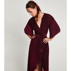 Zara | Knotted Velvet Wrap Kimono Dress in Wine